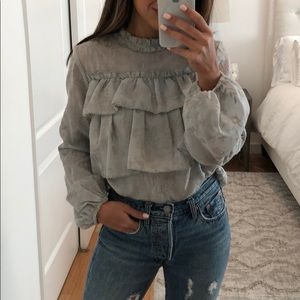 Long sleeve embroidered ruffle top